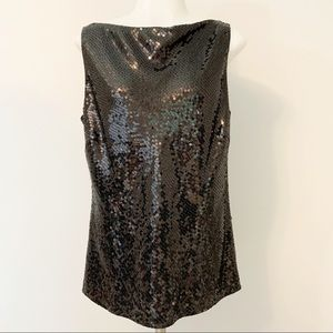 Ann Taylor Black Sequin Sleeveless Top Size 10.